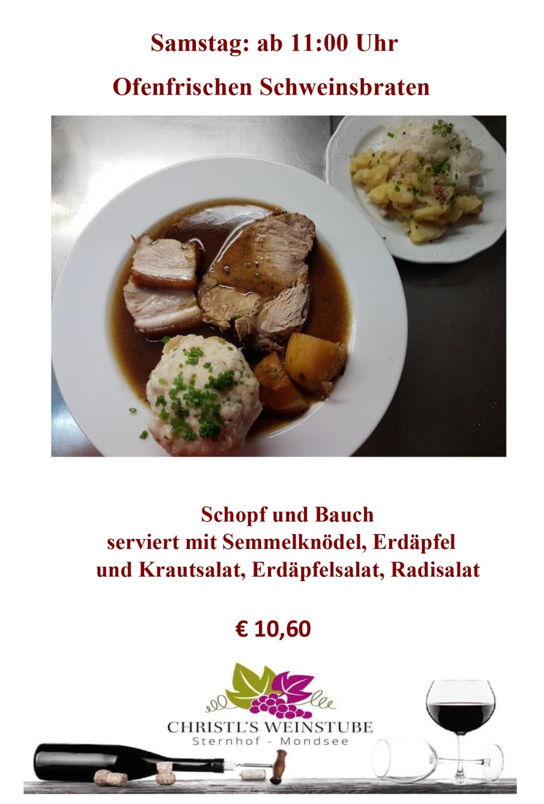 Schweinsbraten - Samstag 2020